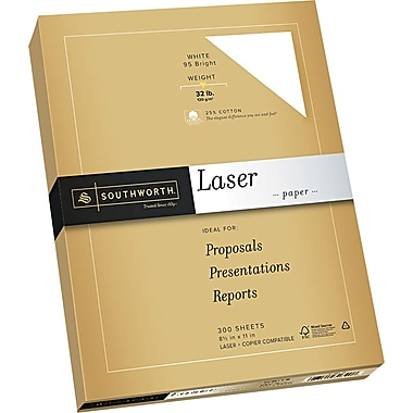 SOUTHWORTH® Premium Laser Paper, 8 1/2in. x 11in., 32 lb., Smooth Finish, Wicked White 95, 300/Box