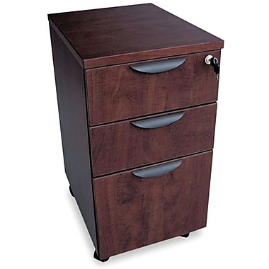 Alera® Valencia 20 1/2in.D 3 Drawer Mobile Box/Box/File Pedestal File, Mahogany