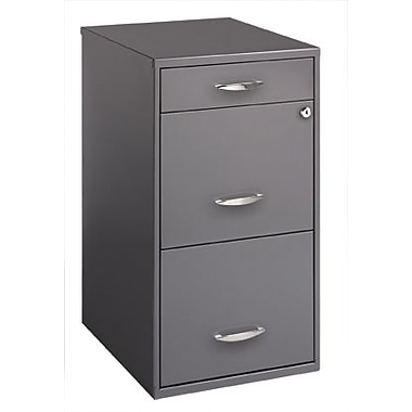 Office Designs 18in. 3-Drawer Utility File Cabinet, Charcoal
