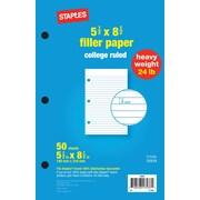 Staples® Heavy Weight Filler Paper, 5-1/2 x 8-1/2