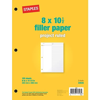 Staples Project Ruled Filler Paper, 8in. x 10-1/2in.
