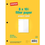 Staples® Project Ruled Filler Paper, 8 x 10-1/2