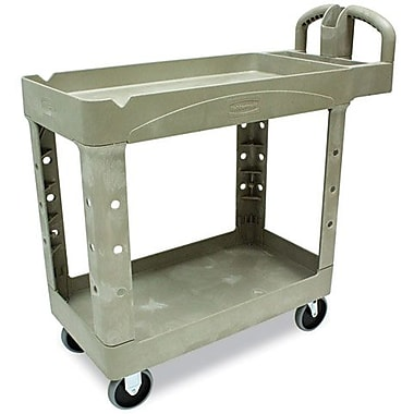 Rubbermaid Heavy-Duty 2-Shelf Plastic Cart, 18in.W, Beige