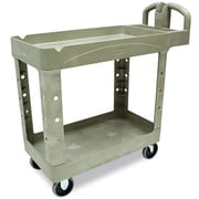 Rubbermaid Heavy-Duty 2-Shelf Plastic Cart, 18W, Beige