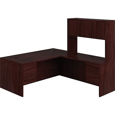 HON 10500 Series L-Shaped Office Desk w/ Hutch, 72in.W, Mahogany