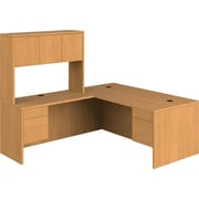 HON 10500 Series L-Shaped Office Desk w/ Hutch, Harvest