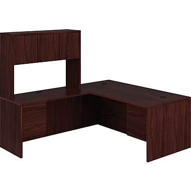 HON 10500 Series L-Shaped Office Desk w/ Hutch, Mahogany, 72