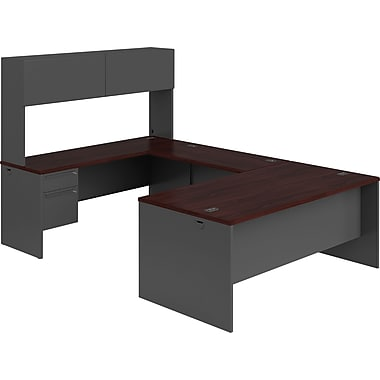 HON 38000 Series U-Shaped Office Desk w/ Hutch, Mahogany/Charcoal