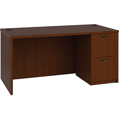 basyx by HON BL Series Workstation/Office Desk w/ Pedestal, Medium Cherry