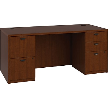 basyx by HON BL Series Workstation/Office Desk w/ Pedestals, Medium Cherry