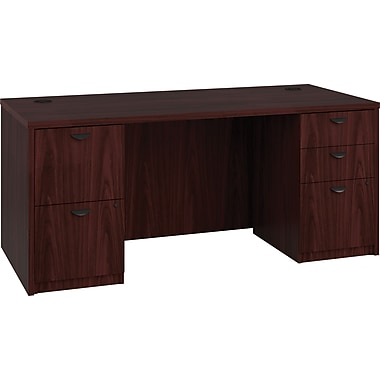 basyx by HON BL Series Workstation/Office Desk w/ Pedestals, Mahogany