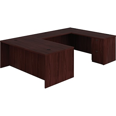 basyx by HON BL Series U-Shaped Office Desk, Mahogany