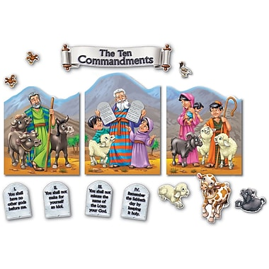 Carson-Dellosa Publishing 210003 Scalloped The Ten Commandments Bulletin Board Set, Multicolor