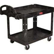"Rubbermaid Heavy-Duty 2-Shelf Utility Cart with Lipped Shelf, Black, 45 1/4""L x 25 7/8""W x 33 1/4""H"