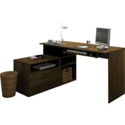Bestar Modula L-Shaped Workstation, Grey-Brown Teak