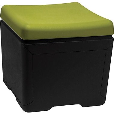 Iceberg Otto™ 18in.D High-Density Polyethlene File Ottoman, Green/Black
