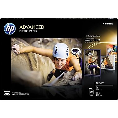 HP Advanced Photo Paper, White, 13in.(W) x 19in.(L), 20/Pack