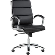 Alera® Neratoli Mid Back Slim Profile Soft-Touch Leather Swivel/Tilt Chair, Black