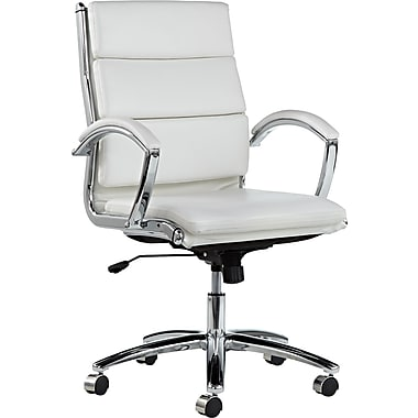 Alera® Neratoli Mid Back Slim Profile Faux Leather Swivel/Tilt Chair, White (SKU 671477)