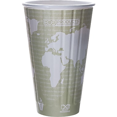 Eco-Products® World Art™ Insulated Compostable Paperboard/PLA Plastic Hot Cup, 16 oz., 600/Carton
