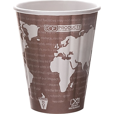 Eco-Products® World Art™ Insulated Compostable Paperboard/PLA Plastic Hot Cup, 8 oz., 800/Carton