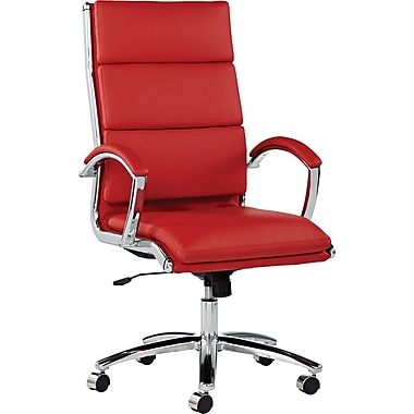 Alera® Neratoli High Back Slim Profile Soft-Touch Leather Chair, Red