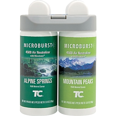 Rubbermaid® Commercial Microburst® Air Freshener Refill, Alpine Springs/Mountain Peaks, Clear, 4 oz.
