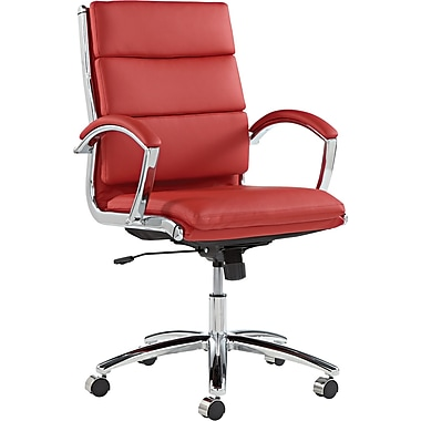 Alera® Neratoli Mid Back Slim Profile Soft-Touch Leather Swivel/Tilt Chair, Red