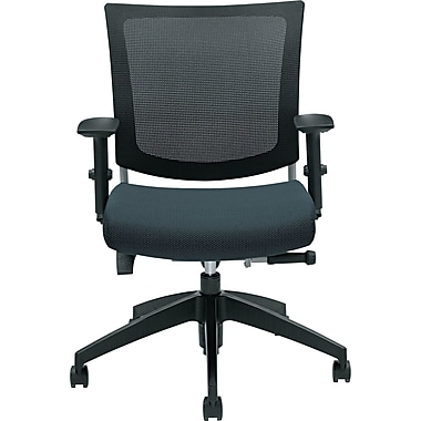Global Graphic™ 32% Polyester Medium Posture Chair, Graphite/Mesh, Black Base