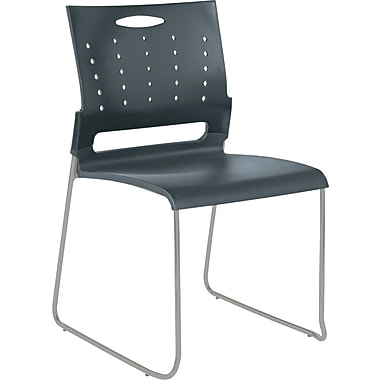 Alera® Continental Plastic Perforated Back Stacking Chair, Charcoal Gray