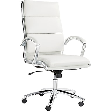 Alera ALENR4106 Neratoli Faux Leather High-Back Executive Chair with Fixed Arms, White