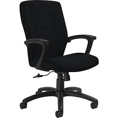 Global Synopsis™ 32% Polyester, 68% Olefin Medium Back Tilter Chair, Black