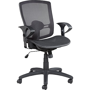 Alera® Etros Suspension Mesh Mid Back Synchro-Tilt Chair, Black