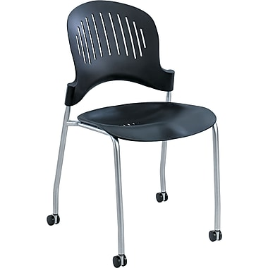 Safco ® Zippi Plastic Stack Chair, 33 1/2in.H x 18 3/4in.W x 21 1/2in.D, Black
