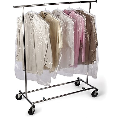 Staples Polyethylene 54in.H x 21in.W x 4in.D Garment Bags on a Roll, Clear, 360/Roll