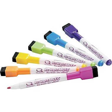 Quartet® ReWritables® Magnetic Mini Dry-Erase Markers, Fine, Assorted, 6/Pack