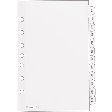 Avery® 11315 Mini Pre-printed Divider, White, JAN-DEC