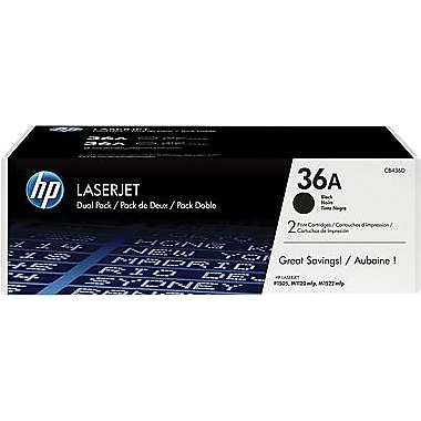 HP 36A Black Toner Cartridges (CB436AD), Twin Pack