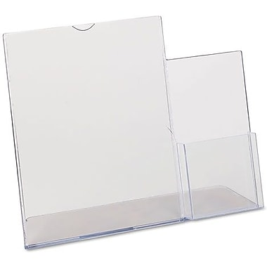 Superior Image Sign Holder, Slanted, Plastic, Letter Size - 8-1/2in.x11in., with 4in. Side Pocket, Clear