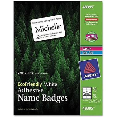 Avery® EcoFriendly™ 48395 White Name Badge Label, 2 1/3in.(W) x 3 3/8in.(L), 80/Pack