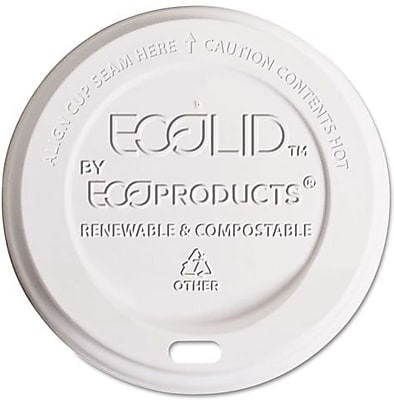Eco-Products  EcoLid  Corn Plastic Hot Cup Lid for 10 - 20 oz. Hot Cups, Translucent, 800/Carton 904803