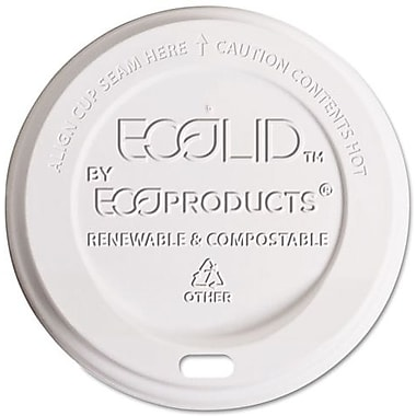 Eco-Products ® EcoLid ® Corn Plastic Hot Cup Lid for 10 - 20 oz. Hot Cups, Translucent, 800/Carton