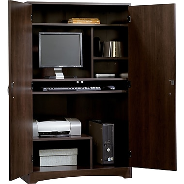 Sauder Beginnings Computer Armoire, Cinnamon Cherry