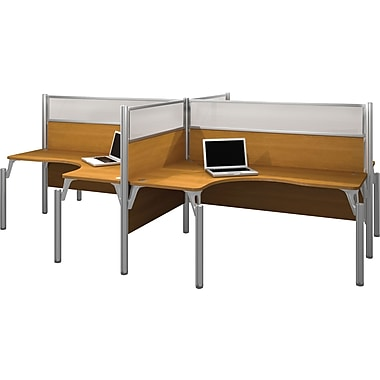 Bestar Pro-Biz Office System Quad Four L-Desk Workstation, Full Wall, Cappuccino Cherry