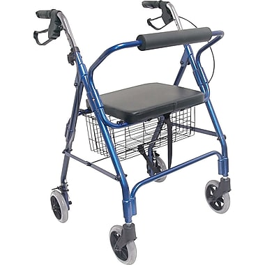 HealthSmart® Ultra Lightweight Aluminum Rollator with Straight Backrest, Royal Blue