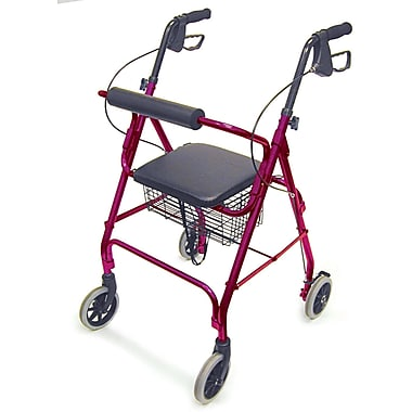 DMI® Ultra Lightweight Aluminum Rollator with Straight Backrest, Burgundy