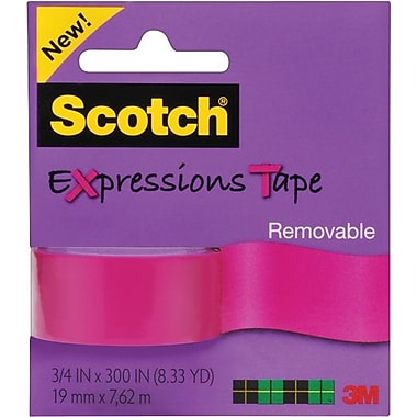 Scotch® Expressions Tape, Pink, Removable, 3/4