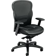 basyx by HON® BSXVL701ST11 VL701 Leather Mesh High-Back Office Chair with Adjustable Arms, Black