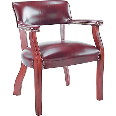 Alera Traditional Vinyl Guest Chair With Arm Without Casters, Burgundy