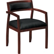 basyx by HON® VL852 Leather Guest Chair, Black SofThread™ Leather/Mahogany (BSXVL852NST11)